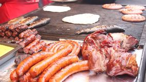 Meat dishes grilled stock footage