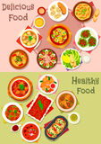 Meat dishes icon set for restaurant menu design. Meat dishes icon set of meat salad with vegetable, fruit and cheese, beef stew, meat soups and stews with Royalty Free Stock Images