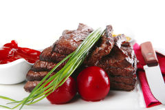 Meat and dishware Royalty Free Stock Image