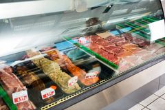 Meat Displayed In Butcher's Shop Stock Photos