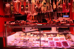 Meat displayed at La Boqueria,Barcelona Stock Photography