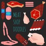 Meat  doodles on black background. Stock Image