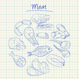 Meat doodles - squared paper Stock Image