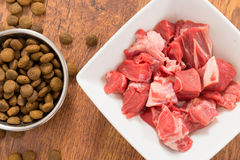 Meat and dry dog's food Stock Photo