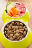 Meat and dry dog's food Royalty Free Stock Images
