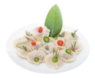 Meat dumplings. Russian meat dumplings aka pelmeni on the white plate isolated on the white background Stock Image