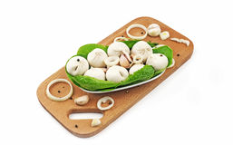 Meat dumplings with chicken. On a wooden substrate, on a white background Stock Image