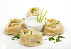 Meat dumplings on a plate Royalty Free Stock Images