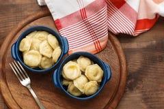 Meat Dumplings - russian boiled pelmeni in plate Stock Image