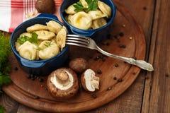 Meat Dumplings - russian boiled pelmeni in plate Stock Images