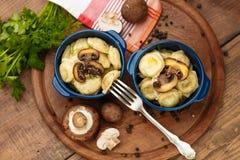 Meat Dumplings - russian boiled pelmeni in plate Stock Photos