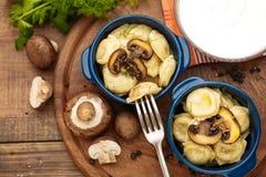 Meat Dumplings - russian boiled pelmeni in plate Royalty Free Stock Photo