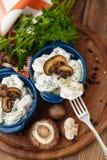 Meat Dumplings - russian boiled pelmeni in plate Stock Photo
