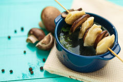 Meat Dumplings - russian boiled pelmeni in plate Stock Photography