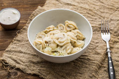 Meat dumplings - russian pelmeni, ravioli with meat on a white plate Stock Images