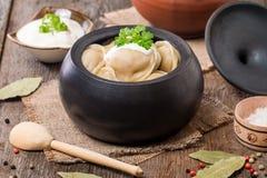 Meat Dumplings - russian pelmeni with sour cream Stock Photography