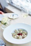 Meat dumplings served with beetroot salad Royalty Free Stock Images
