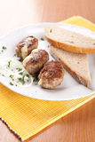 Meat dumplings stuffed with cheese and onion bread Royalty Free Stock Photos