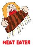 Meat eater lover carnivore funny cartoon. Illustration royalty free illustration