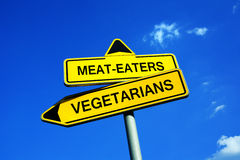 Meat-eaters on Vegetarians Royalty Free Stock Photos