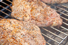 Meat on the electric barbecue Royalty Free Stock Photography