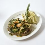 Meat entree. Still life shot of meat entree with mash potatoes Stock Photo
