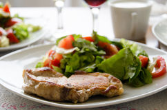 Meat entree and salad royalty free stock photos