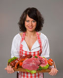 meat erbjuder produktkvinnabarn Royaltyfri Foto
