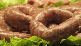 Meat Exposition. Exposition of sausage type of meat Stock Photography