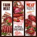 Vector banner sketch butchery shop meat product. Meat farm products and natural sausages or delicatessen of pork ham, bacon or beef steak brisket, mutton ribs Royalty Free Stock Photos