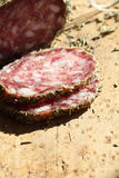 Meat. A few slices of salami stock photography