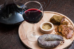 Meat fillet sausage and red wine Royalty Free Stock Photo