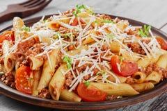 meat finhackad pasta Fotografering för Bildbyråer