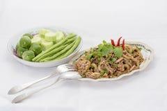 meat finhackat kryddigt thai för sallad Arkivfoto