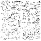 Meat,fish and cheese, food set Stock Images