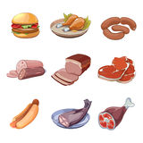 Meat, fish, chicken and fast food icons Royalty Free Stock Photos