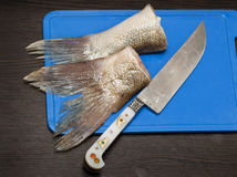 Meat of fish on a chopping board Stock Images