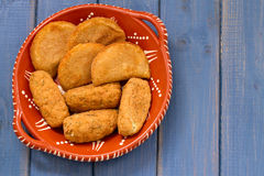 Meat and fish croquete on dish Stock Photos