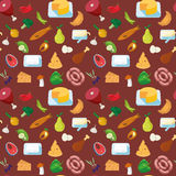 Meat fish dairy vegetable food pattern background vector flat Royalty Free Stock Images