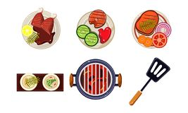 Meat and fish dishes cooked on the grill, tasty healthy food, top view vector Illustration on a white background. Meat and fish dishes cooked on the grill, tasty vector illustration