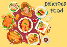 Meat and fish dishes icon for festive menu design. Meat and fish dishes for dinner icon of baked goose with vegetable, fruit and nut stuffings, fish with beet Stock Photo