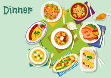 Meat, fish dishes for lunch icon for food design Stock Photo