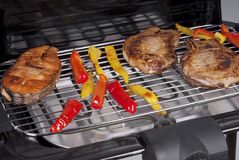 Meat and fish on the grill Stock Images