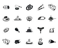 Meat and fish icons. Meat and fish set of vector black icon on white background Royalty Free Stock Image