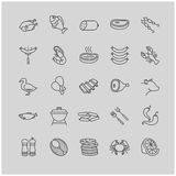 Meat and fish icons Stock Photos