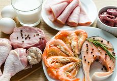 Meat and fish inrgedients. Fresh ingredients for protein diet Royalty Free Stock Photography