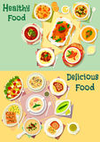 Meat, fish and mushroom dishes icon set design Stock Images
