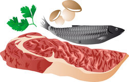 Meat, fish and mushrooms Stock Photography