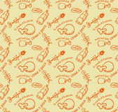 Meat and fish  pattern orange Stock Image