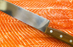 Meat fish salmon. Eating fillet fish food Royalty Free Stock Images